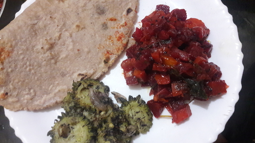 Millets roti  Beetroot and carrot  curry bitter ground curry