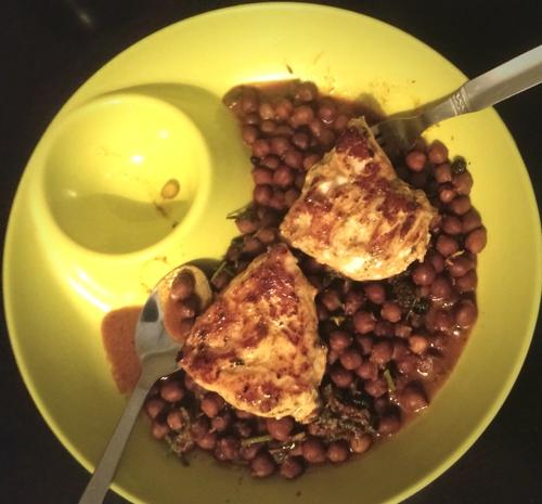 Pan seared chicken on channa masala