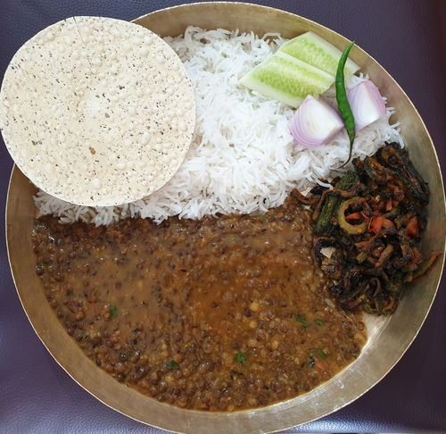 Masoor Dal ,rice and Karela