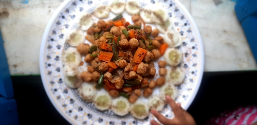 soya chunks with stir fry veggies