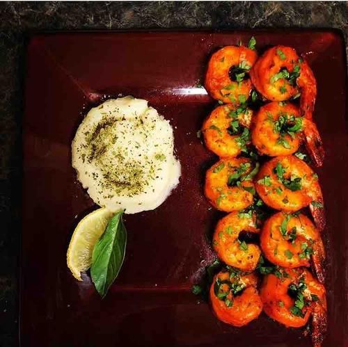 baked shrimp and mashed potatoes