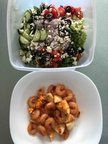 Greek Salad with Masala Prawns and Egg