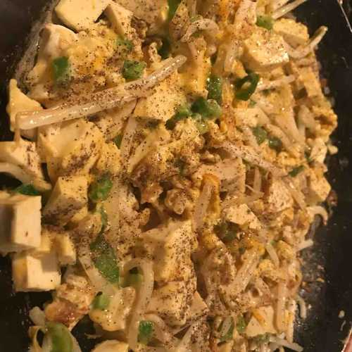 tofu and mung bean scramble egg