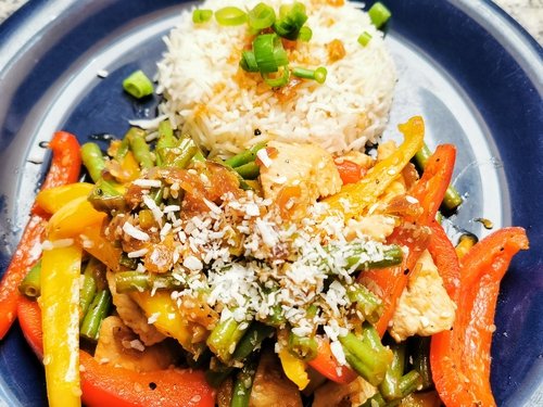Teriyaki Chicken with Green Beans, Bell Pepper and Coconut Rice