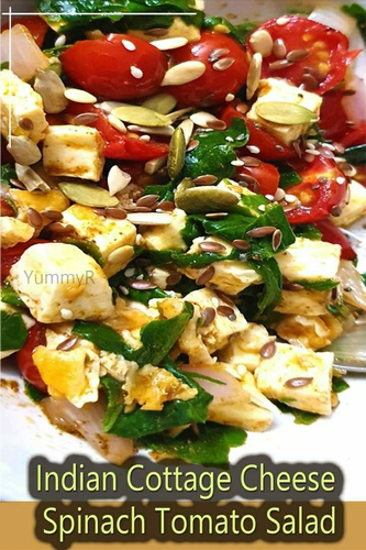 Indian Cottage Cheese Spinach Tomato Salad