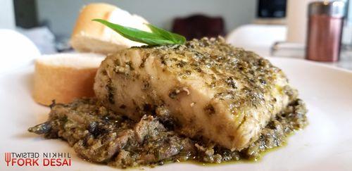 Mahi Mahi Fish and Mushroom in Pesto Sauce