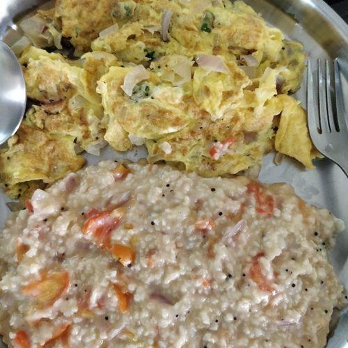 oats upma and omlette
