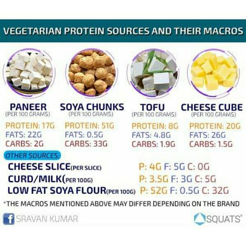 Vegeterian protein sources and their macros