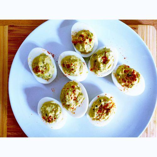 Guacamolized Deviled Eggs #mayEggsBeNeverBoring