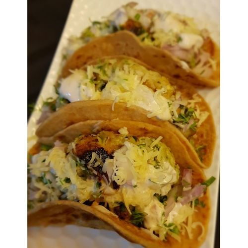 Tacos with Chicken Galouti kababs