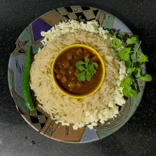 Black chana with onion and paneer rice
