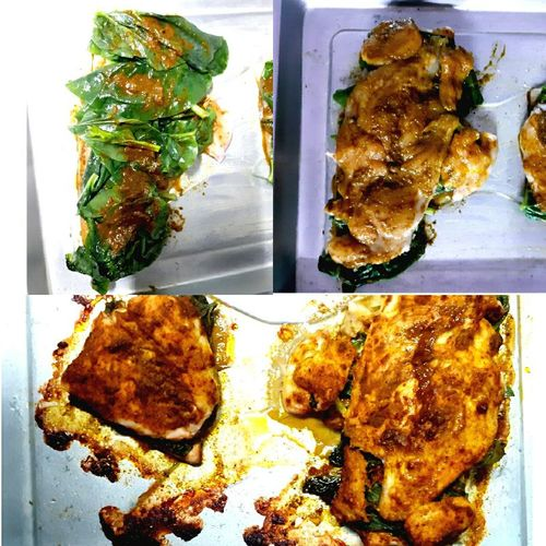 Baked Palak stuffed Chicken