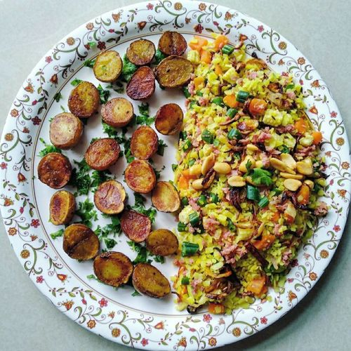 Soya veggies poha and roasted baby potatoes