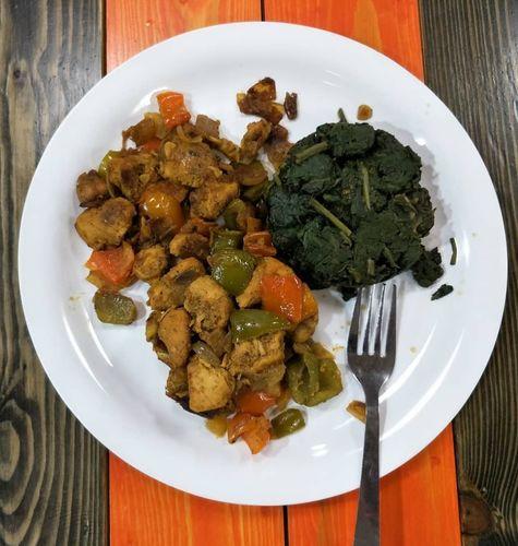 Chilli Chicken & Sauted Spinach