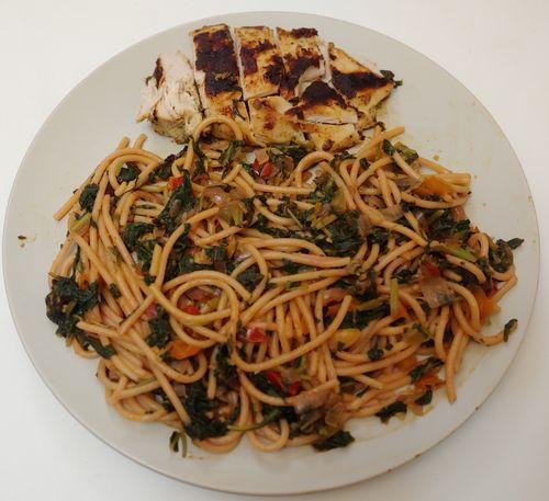 Veggie Spaghetti and Grilled Chicken