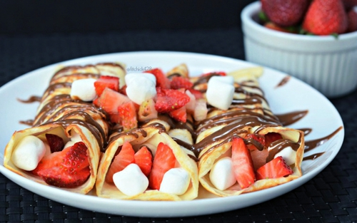 Strawberry S'Mores Crepes with Chocolate Almond Butter