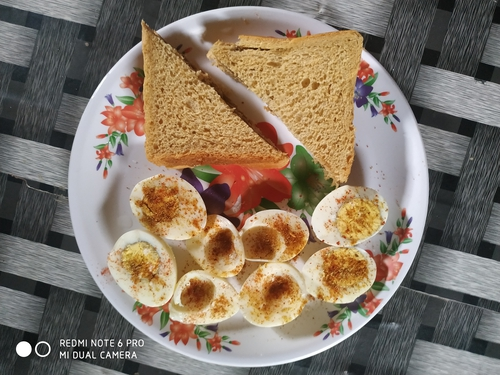 peanut butter sandwich with boiled spicy egg