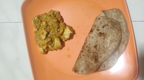 whole wheat Paratha and egg curry