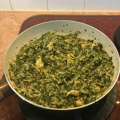 Spinach chicken rice