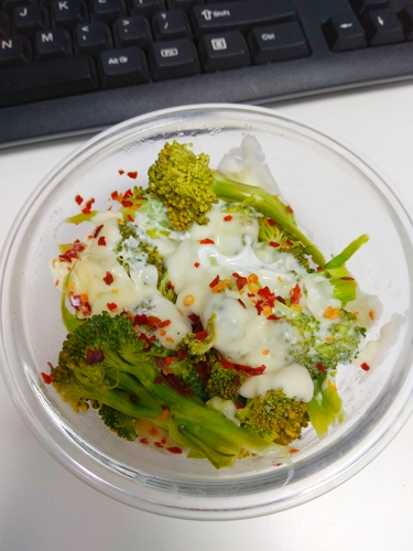 Broccoli with cheese dip