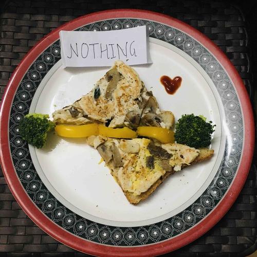 Chicken mushroom egg toast