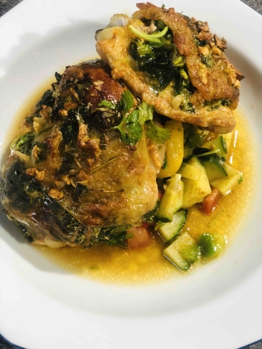 Spinach filled baked chicken