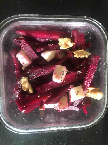 Beetroot cheese and nuts salad