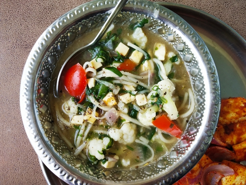 Vegetable Clear Soup with Paneer