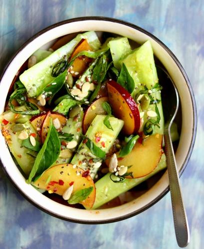 Smashed Cucumber Plum Salad