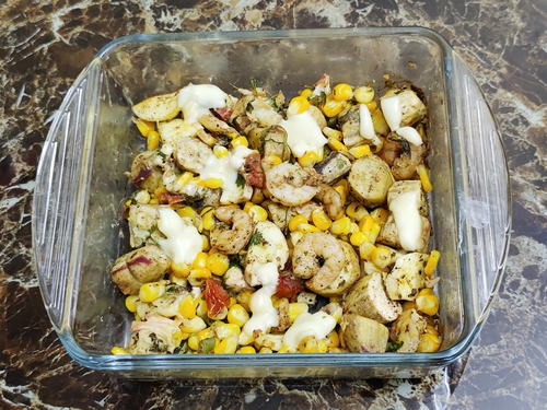 Roasted sweet potato corn and cheese salad