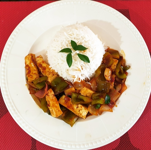 Paneer Chilli & Steamed Rice