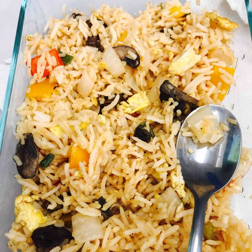 Eggs and veggie schezwan fried rice