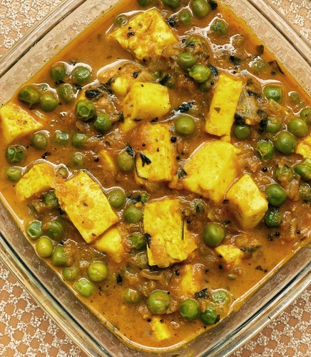 Matar Paneer Cooked in Coconut Milk