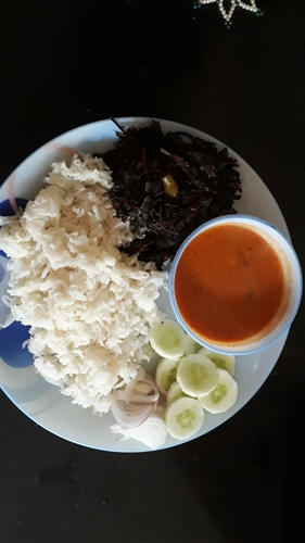 Amaranthus leaves ,Tomato curry and Steamed rice