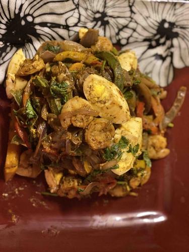 shrimp and Egg Fajitas