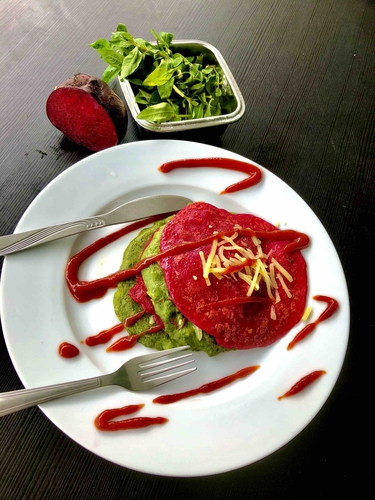 spinach beet and oats savoury pancake