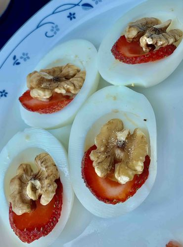 Boiled Eggs with Strawberry with Walnuts