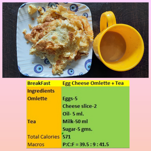 Egg cheese omlette and tea