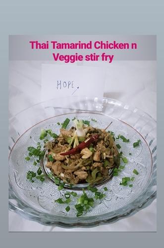 Thai Tangy Tamarind Stir Fry chicken and veggies