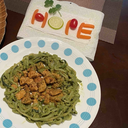 Corainder Garlic Chicken with Zucchini Noodles