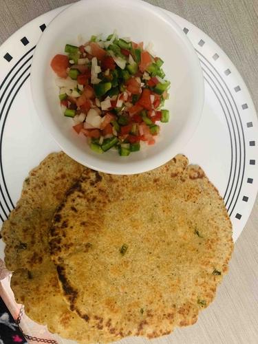 Paneer paratha and salad