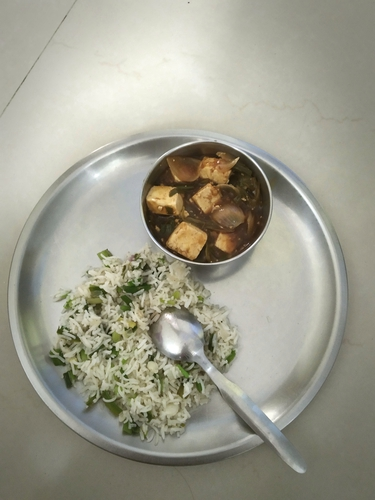 Chinese meal - Paneer Chilly Gravy and Spring onion fried rice