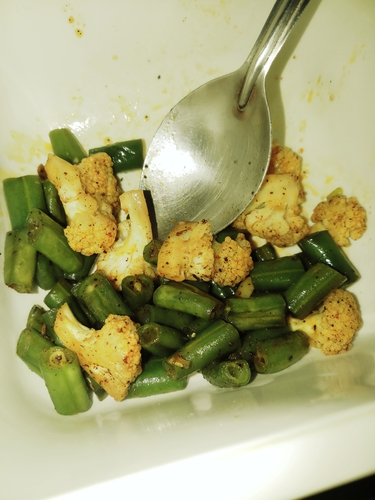 cauliflower and beans sauted