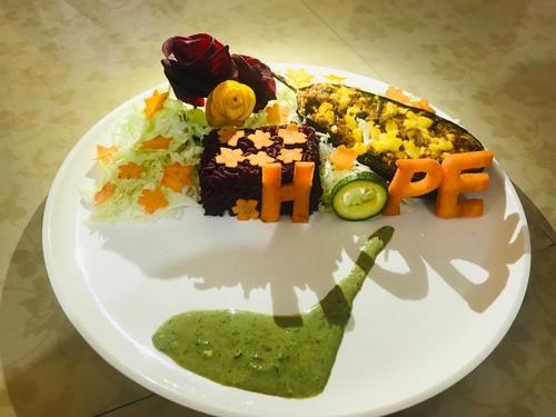 Paneer Stuffed Eggplant with Beetroot rice #Hope