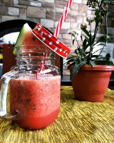 Minty Watermelon with basil seeds