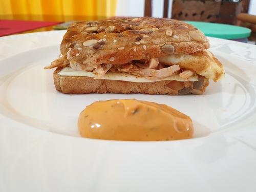 Shredded Chicken Egg Cheese Sandwich