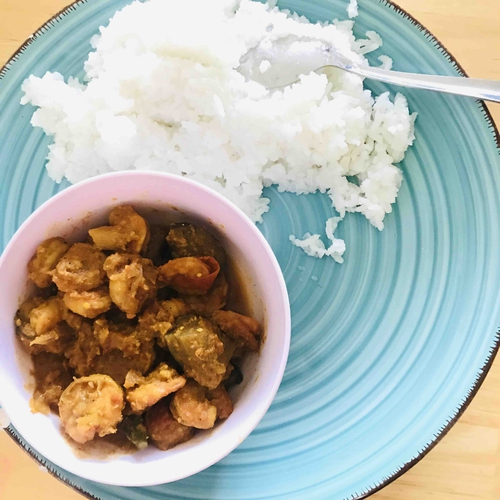 Prawns curry with Steamed Rice