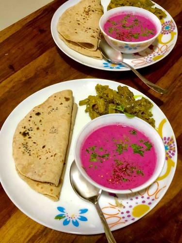 beet root pachadi ( low calorie , serves 1)