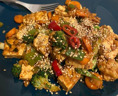 Pan fried tofu with veggies