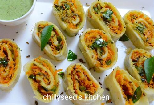 Steamed Suji Vegetable Roll